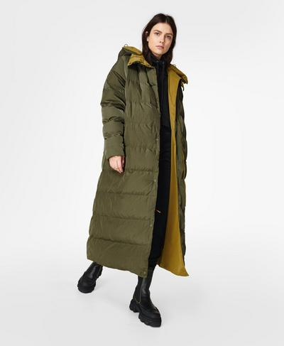 Reversible Duvet Coat, Woodland Green   Sweaty Betty