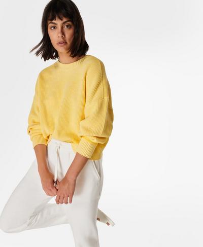 Sunday Marl Knitted Sweater, Butter Yellow | Sweaty Betty