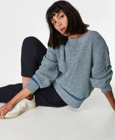 Sunday Marl Knitted Sweater, Steel Blue | Sweaty Betty