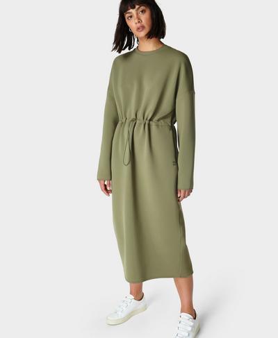Grace Scuba Midi Dress, Moss Green | Sweaty Betty