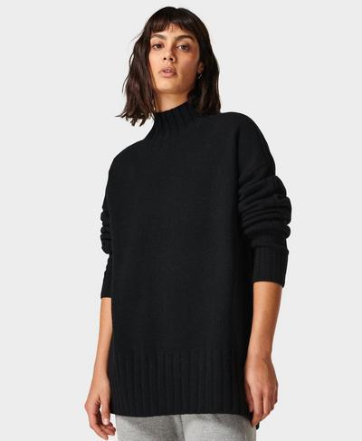 Mountain Wool Sweater, Black | Sweaty Betty