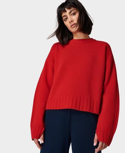 Mountain Wool Crew Neck, Cardinal Red | Sweaty Betty