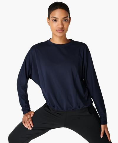 Gary Pullover Jumper, Navy Blue | Sweaty Betty