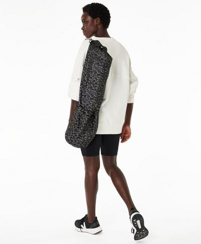 Yoga Mat Bag, Grey Leopard Print | Sweaty Betty