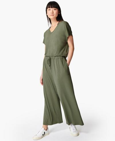 Take It Easy Jumpsuit, Heath Green | Sweaty Betty