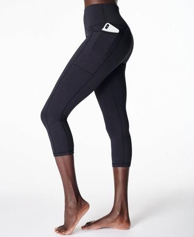 Super Sculpt Crop Yoga Leggings, Black Marl | Sweaty Betty