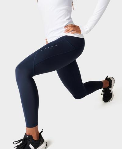 Eco Therma 7/8 Running Leggings, Navy Blue   Sweaty Betty