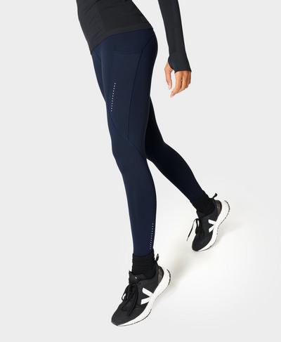 Eco Therma Running Leggings, Navy Blue | Sweaty Betty