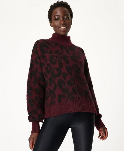 Animal Jacquard Jumper, Black Cherry Purple | Sweaty Betty