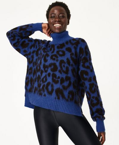 Animal Jacquard Sweater, Electric Blue | Sweaty Betty