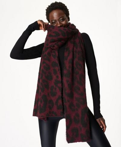 Animal Jacquard Scarf, Black Cherry Purple | Sweaty Betty