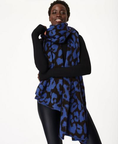 Animal Jacquard Scarf, Electric Blue | Sweaty Betty