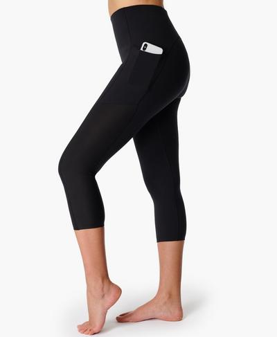 Power High-Waisted Cropped Workout Leggings, Black | Sweaty Betty