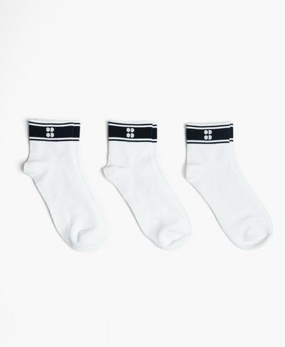 Striped Ankle Sock 3 Pack, White | Sweaty Betty