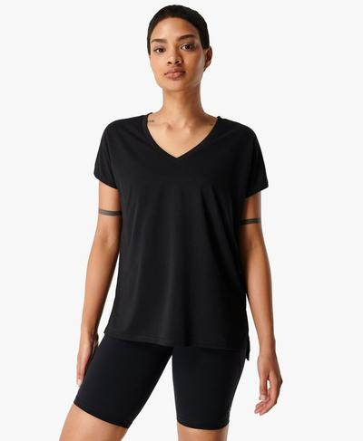 Boyfriend V-Neck Gym T-shirt, Black | Sweaty Betty