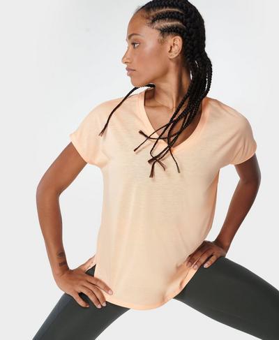 Boyfriend V-Neck Gym T-shirt, Blossom Orange | Sweaty Betty
