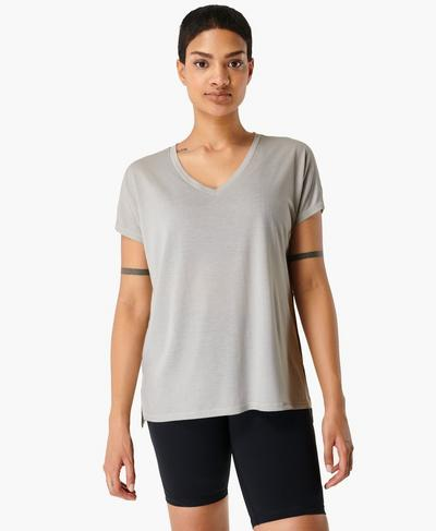 Boyfriend V-Neck Gym T-shirt, Light Grey Marl | Sweaty Betty