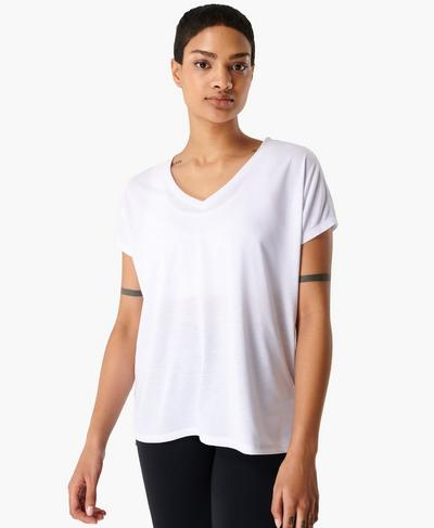 Boyfriend V-Neck Gym T-shirt, White | Sweaty Betty