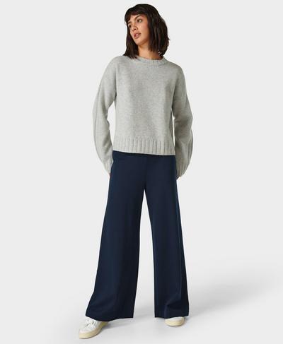 """Ponte Wide 32"""" Leg Trousers, Navy Blue   Sweaty Betty"""