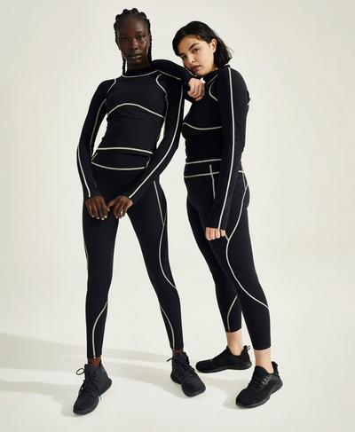Vivian Zero Gravity Sculpt 7/8 Running Leggings, Black | Sweaty Betty