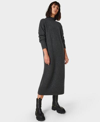 Mountain Wool Dress, Charcoal Grey Marl | Sweaty Betty