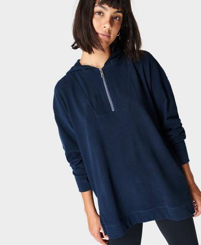 Enlighten Luxe Fleece Half Zip - Maritime Green, Navy Blue | Sweaty Betty
