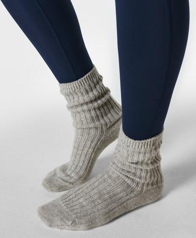 Cashmere Lounge Socks, Light Grey | Sweaty Betty
