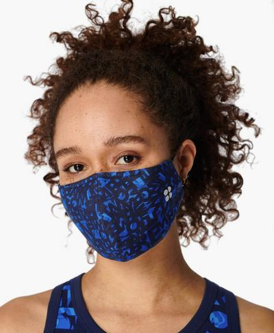 Face Covering 2 Pack, Blue Text Print | Sweaty Betty