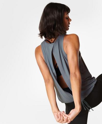 Freeflow Open Back Vest, Steel Blue | Sweaty Betty