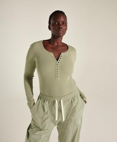 Hera Waffle Bodysuit, Chalk Green | Sweaty Betty