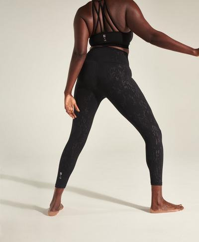 Enya All Day 7/8 High-Waisted Emboss Leggings, Black Cambium Emboss Print | Sweaty Betty