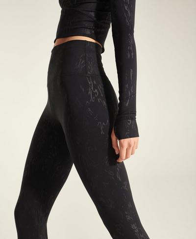 Enya All Day High-Waisted Emboss Leggings, Black Cambium Emboss Print | Sweaty Betty