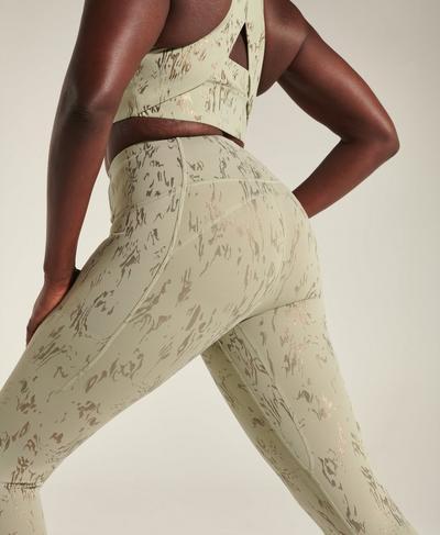 Athena Super Soft 7/8 Leggings, Green Cambium Foil Print | Sweaty Betty