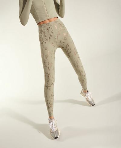 Athena Super Soft Leggings, Green Cambium Foil Print   Sweaty Betty
