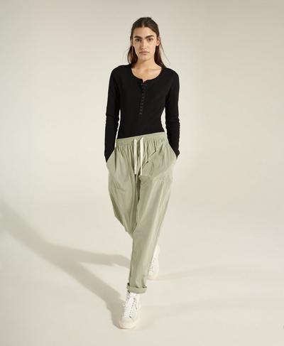 Maia Woven Jogger, Chalk Green | Sweaty Betty