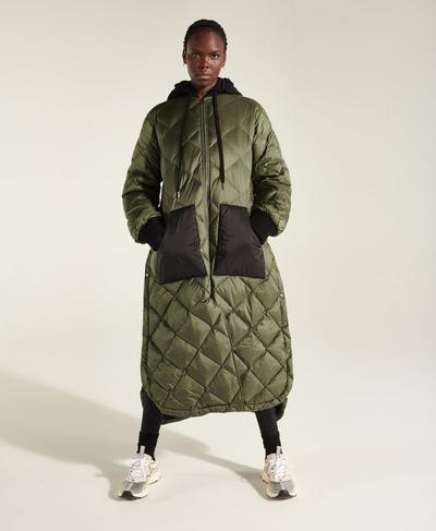 Luna Quilted Coat, Ivy Green | Sweaty Betty