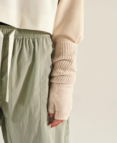 Cleo Fingerless Gloves, Quartz Beige | Sweaty Betty