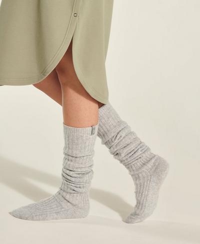 Eris Longer Length Knitted Socks, Grey Marl | Sweaty Betty