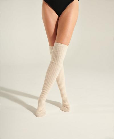Eris Longer Length Knitted Socks, Quartz Beige | Sweaty Betty