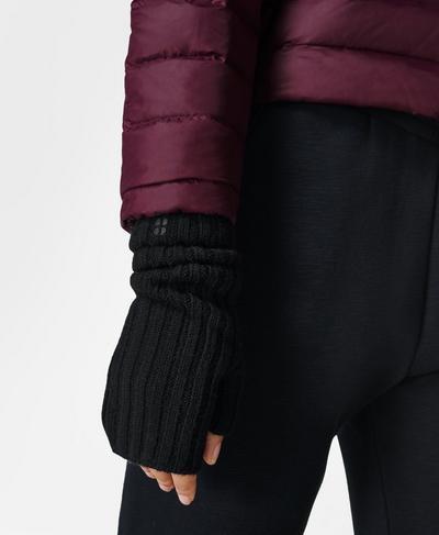 Cashmere Fingerless Gloves, Black | Sweaty Betty