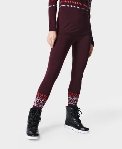 Betty Ski Merino Base Layer 7/8 Leggings, Plum Red Placement Fairisle | Sweaty Betty