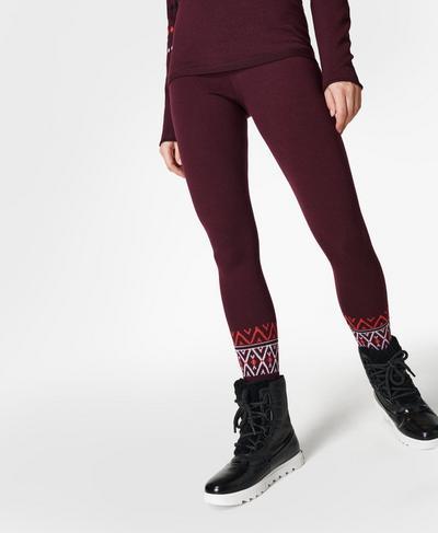 Betty Ski Merino Base Layer Leggings, Plum Red Placement Fairisle | Sweaty Betty