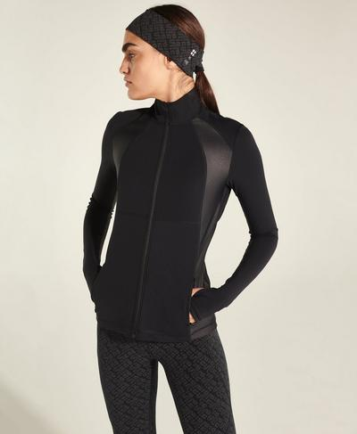 Storm Power High Shine Zip Through Jacket, Black | Sweaty Betty