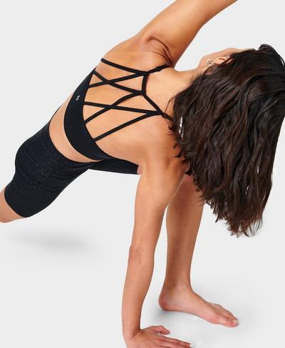 Zola Cross Back Seamless Bra, Black | Sweaty Betty