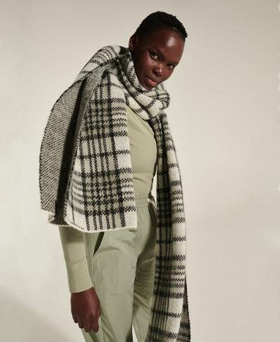 Leto Knitted Scarf, Green Plaid Jacquard | Sweaty Betty