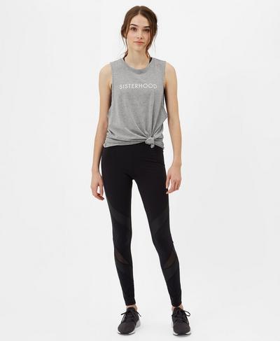 Flow Slogan Yoga Tank, Silver Grey | Sweaty Betty