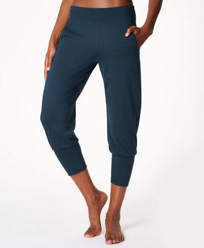 Gary Cropped Yoga Pants, Beetle Blue Marl | Sweaty Betty