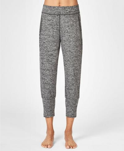 Gary Cropped Yoga Pants, Black Marl A | Sweaty Betty