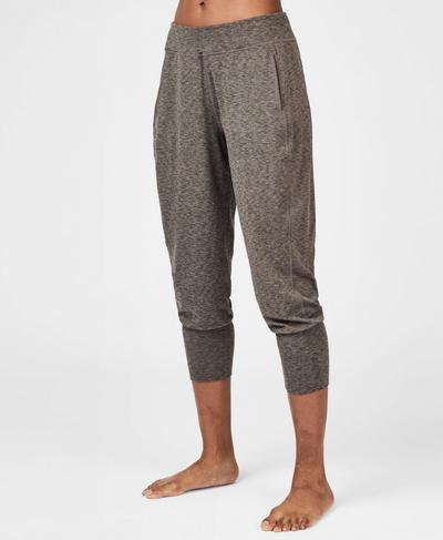 Garudasana Cropped Yoga Pants, Dark Taupe Marl | Sweaty Betty