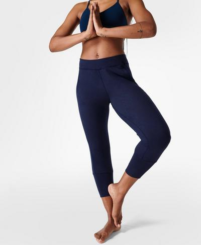 Gary Cropped Yoga Pants, Navy Blue | Sweaty Betty